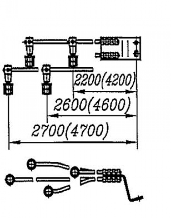 Перемычка дроссельная с обычным и эластичным проводом сечением 70, 95,120мм2  на 4 провода: