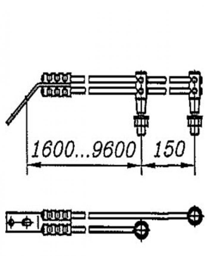 Перемычка дроссельная с обычным и эластичным проводом сечением 120мм2 на 4 провода: