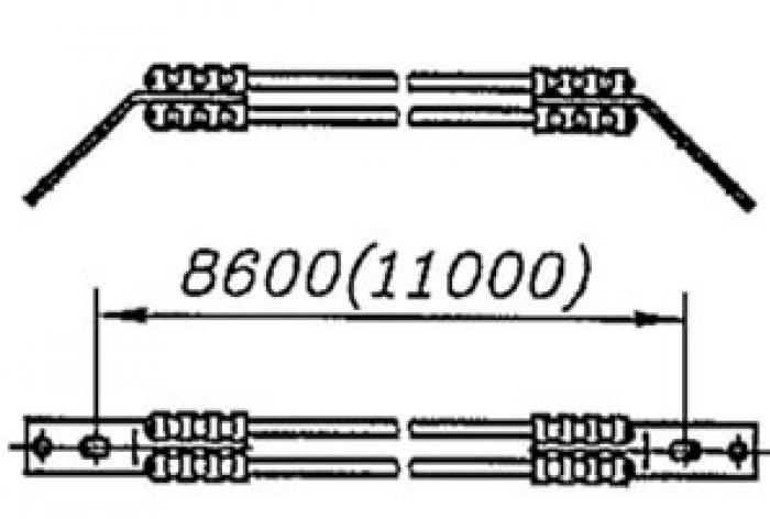 Перемычка междроссельная с обычным и эластичным проводом сечением 70,95,120мм2 на 4 провода:
